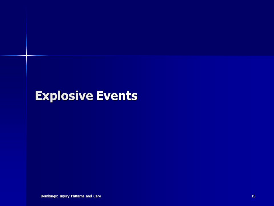 Bombings: Injury Patterns and Care15 Explosive Events