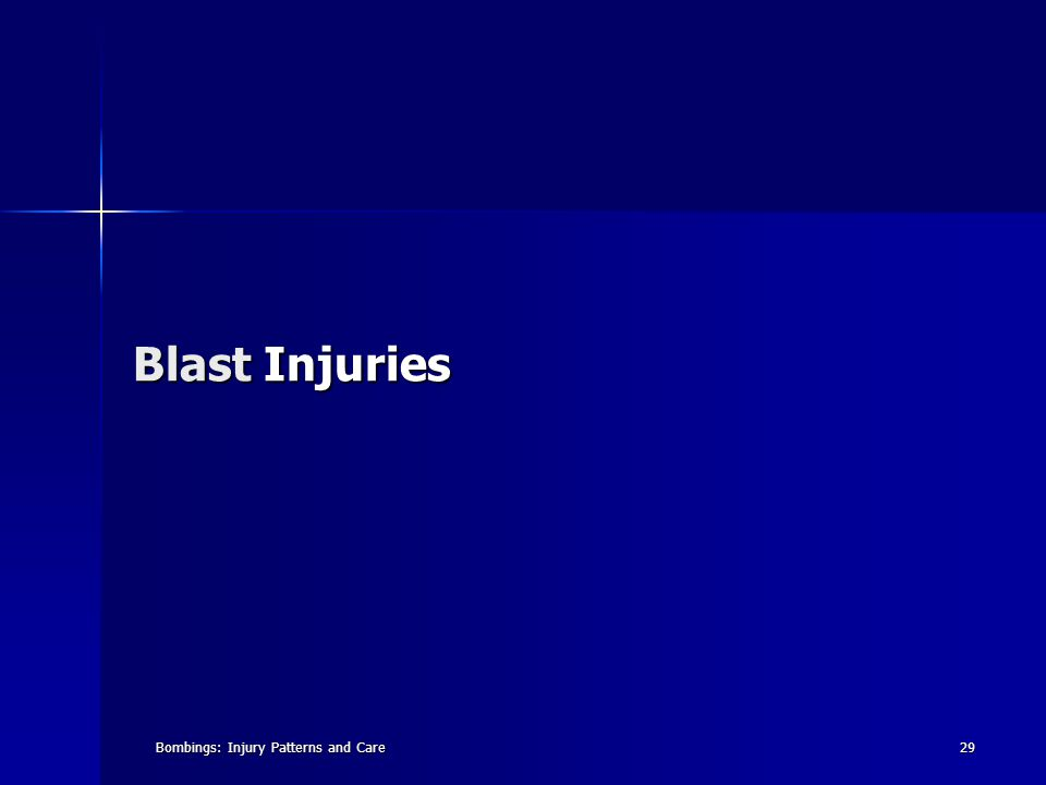 Bombings: Injury Patterns and Care29 Blast Injuries