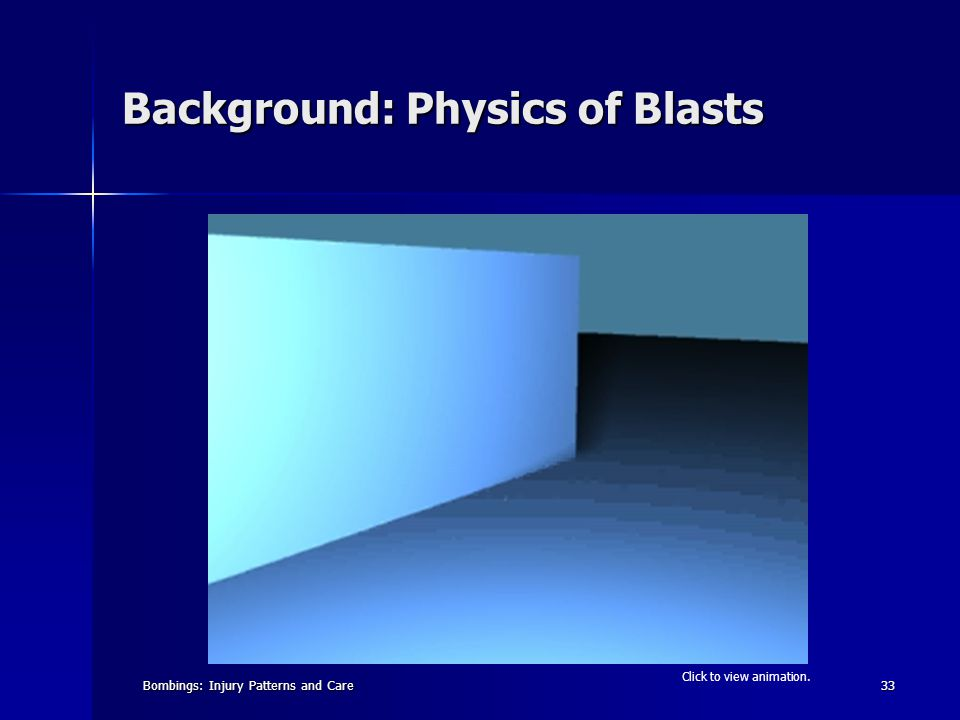 Bombings: Injury Patterns and Care33 Background: Physics of Blasts Click to view animation.