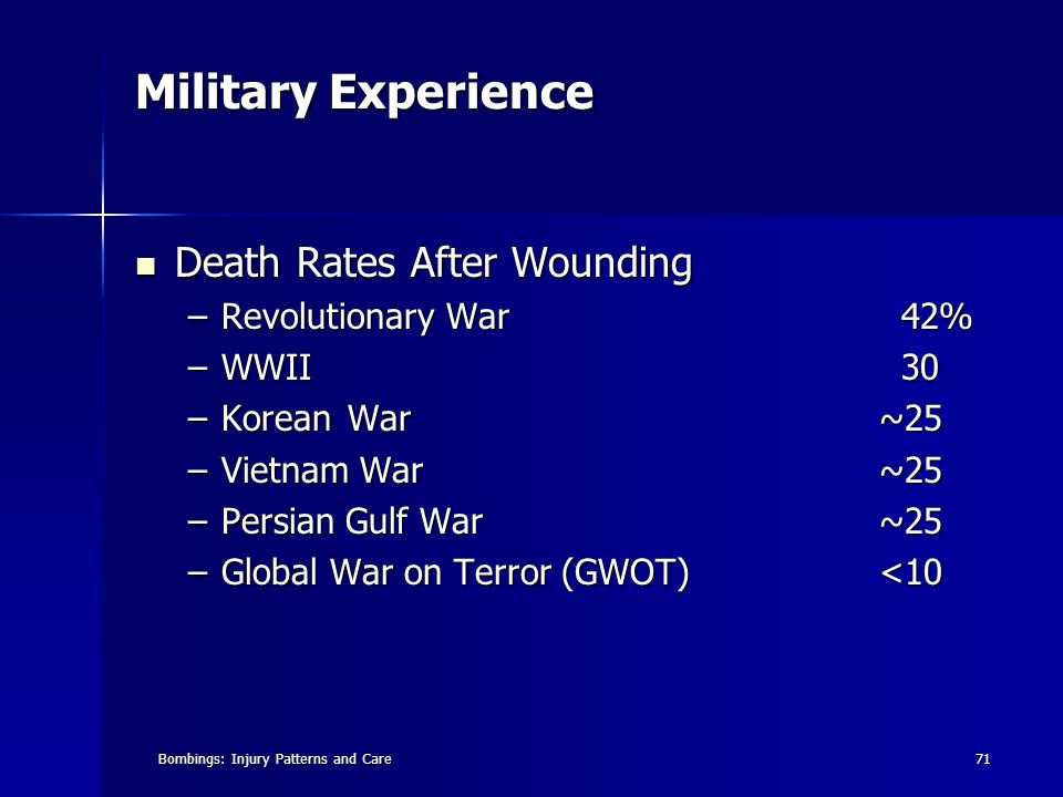 Bombings: Injury Patterns and Care71 Military Experience Death Rates After Wounding Death Rates After Wounding –Revolutionary War 42% –WWII 30 –KoreanWar~25 –Vietnam War~25 –Persian Gulf War~25 –Global War on Terror (GWOT)<10