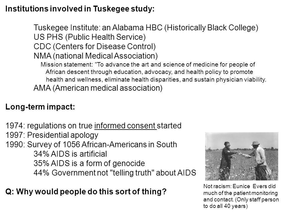 Institutions involved in Tuskegee study: Tuskegee Institute: an Alabama HBC (Historically Black College) US PHS (Public Health Service) CDC (Centers f