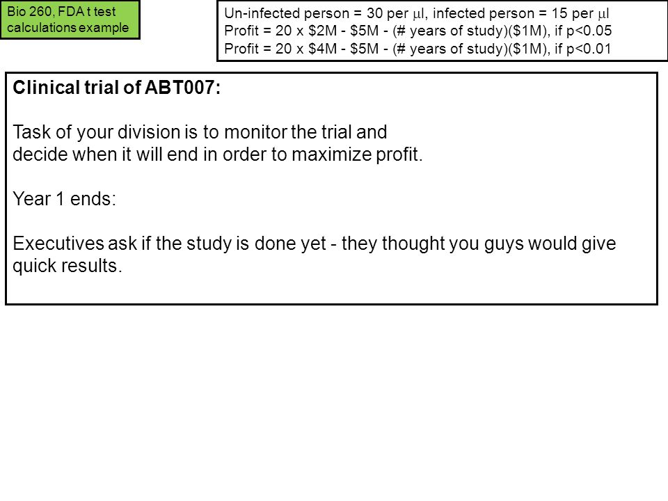Clinical trial of ABT007: Task of your division is to monitor the trial and decide when it will end in order to maximize profit. Year 1 ends: Executiv