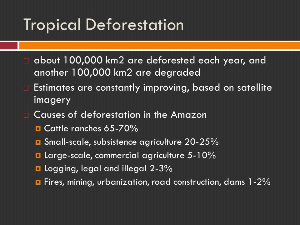 Tropical Deforestation  about 100,000 km2 are deforested each year, and another 100,000 km2 are degraded  Estimates are constantly improving, based
