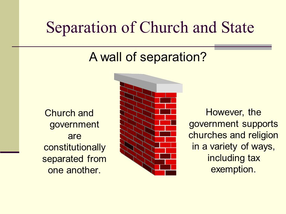 Separation of Church and State Church and government are constitutionally separated from one another. However, the government supports churches and re