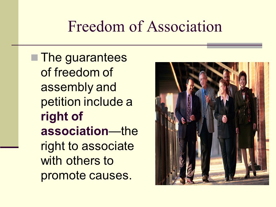 Freedom of Association The guarantees of freedom of assembly and petition include a right of association—the right to associate with others to promote
