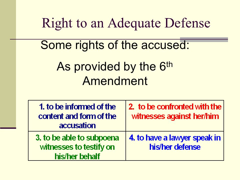 Right to an Adequate Defense Some rights of the accused: As provided by the 6 th Amendment