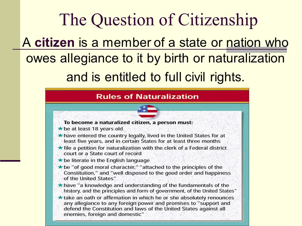 The Question of Citizenship A citizen is a member of a state or nation who owes allegiance to it by birth or naturalization and is entitled to full ci