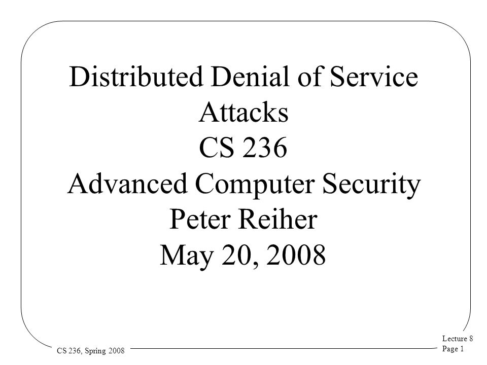 Lecture 8 Page 42 CS 236, Spring 2008 Or One Like This? alert generator classifier core
