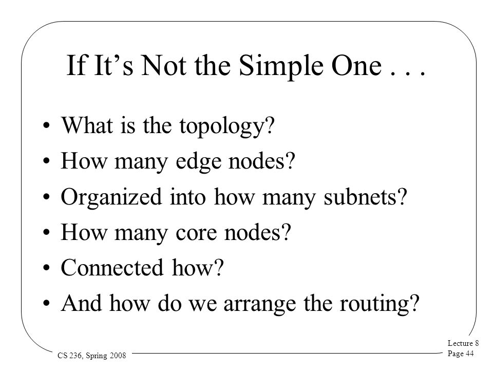 Lecture 8 Page 44 CS 236, Spring 2008 If It's Not the Simple One... What is the topology? How many edge nodes? Organized into how many subnets? How ma