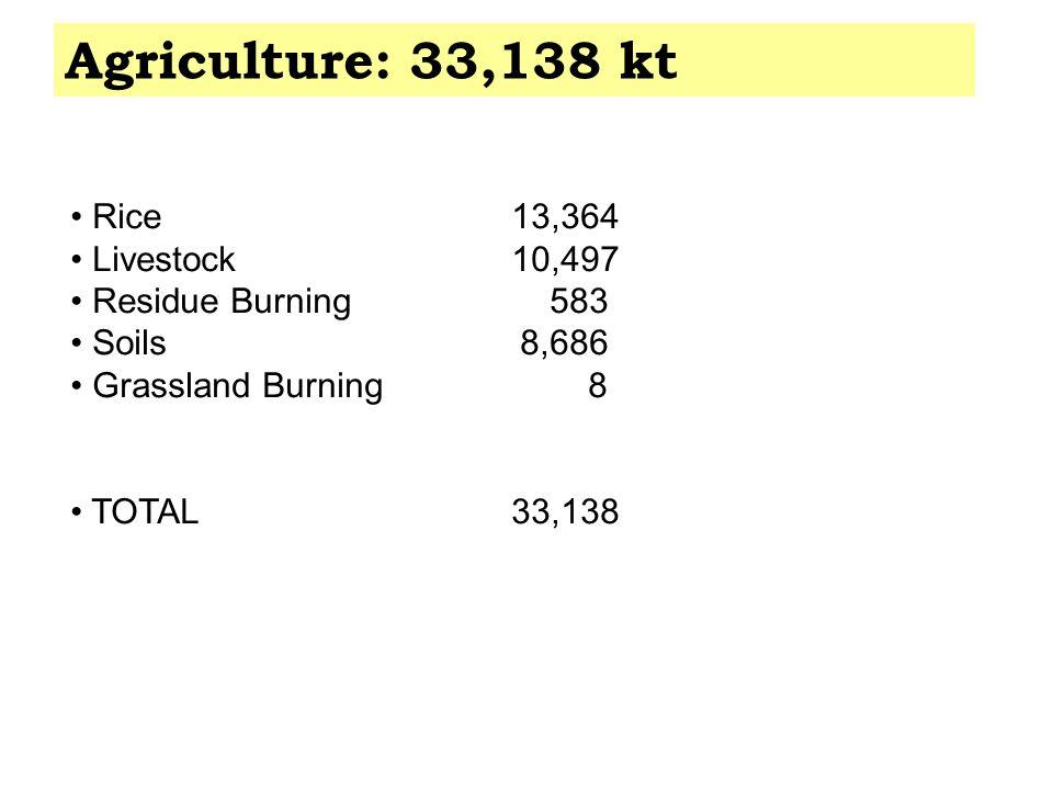 Agriculture: 33,138 kt Rice 13,364 Livestock 10,497 Residue Burning 583 Soils 8,686 Grassland Burning 8 TOTAL 33,138