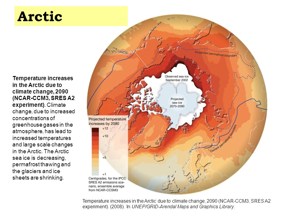 Temperature increases in the Arctic due to climate change, 2090 (NCAR-CCM3, SRES A2 experiment).
