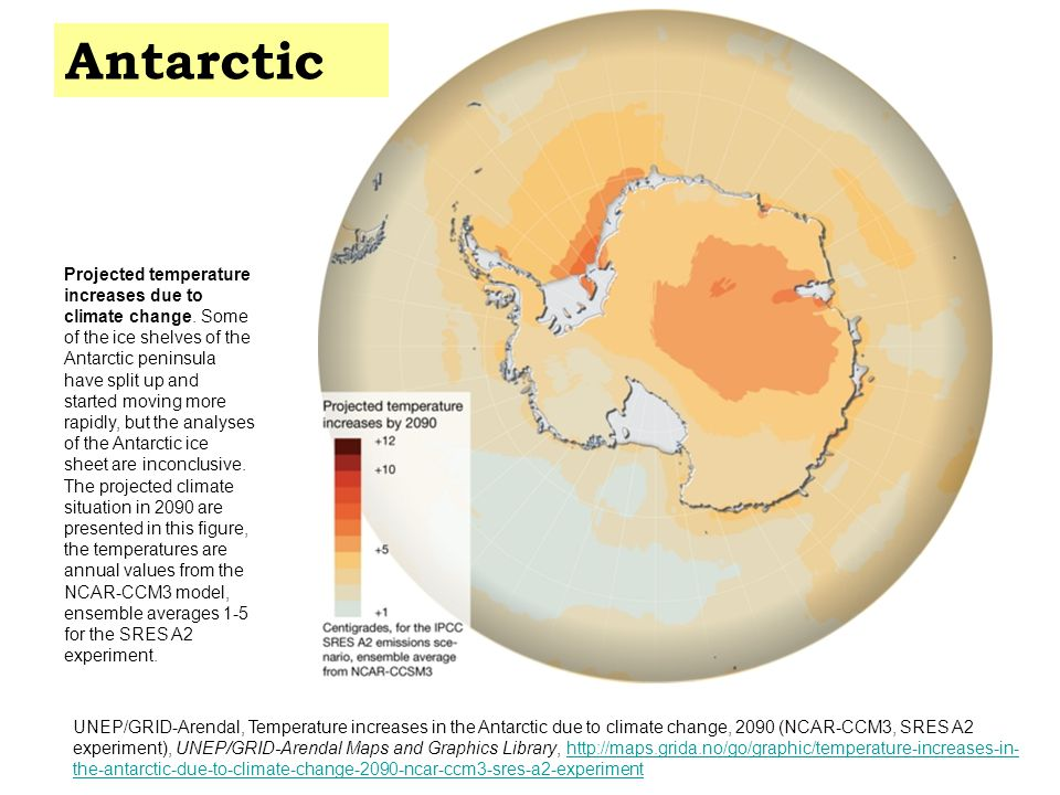 Projected temperature increases due to climate change.