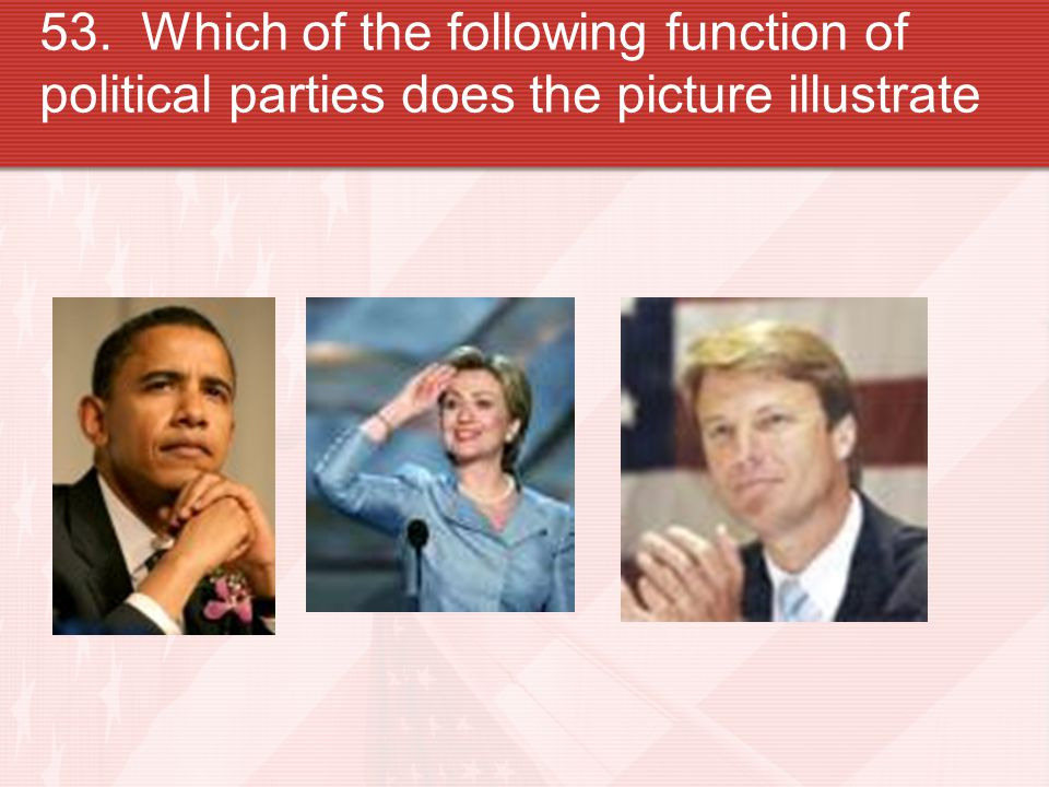 53. Which of the following function of political parties does the picture illustrate