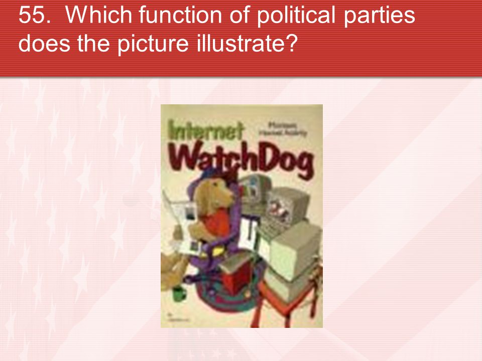 55. Which function of political parties does the picture illustrate?