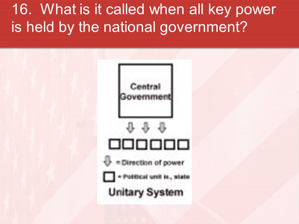 16. What is it called when all key power is held by the national government