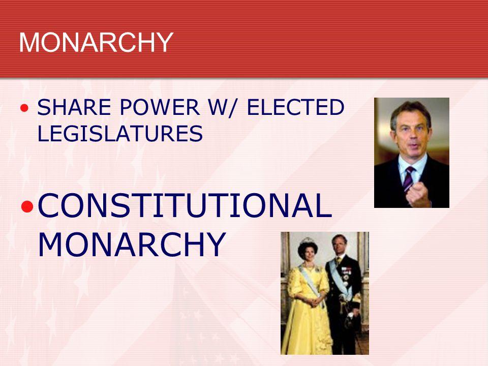 MONARCHY SHARE POWER W/ ELECTED LEGISLATURES CONSTITUTIONAL MONARCHY
