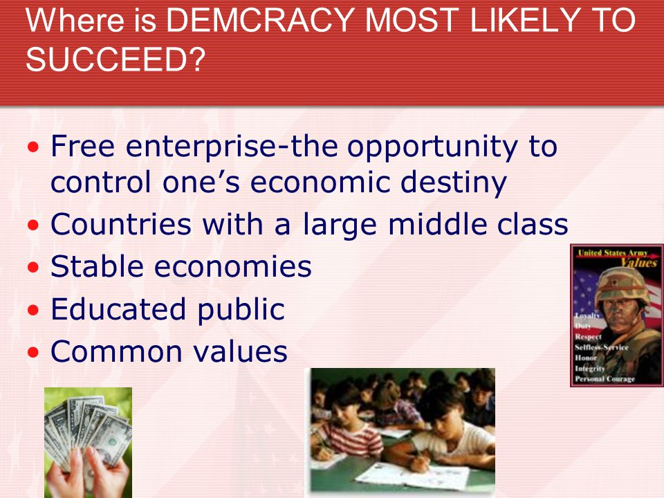 Where is DEMCRACY MOST LIKELY TO SUCCEED.