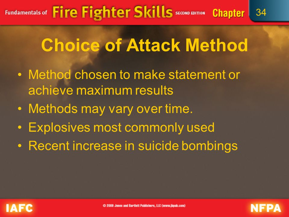 34 Choice of Attack Method Method chosen to make statement or achieve maximum results Methods may vary over time.