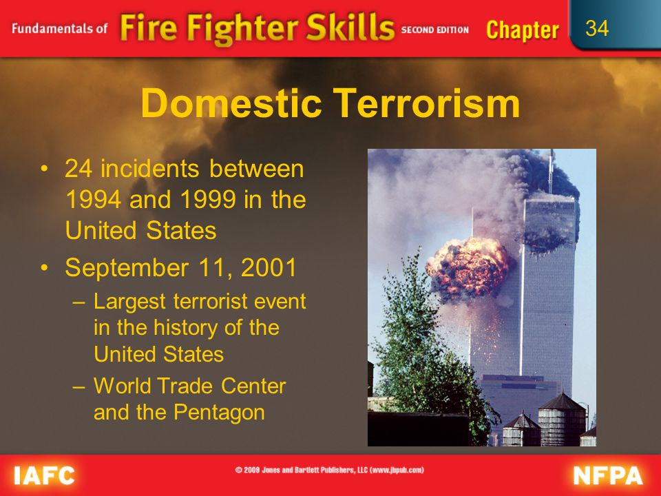 34 Fire Service Response to Terrorist Incidents The role of the fire service in handling terrorist events consists of the same functions performed on a day-to-day basis.