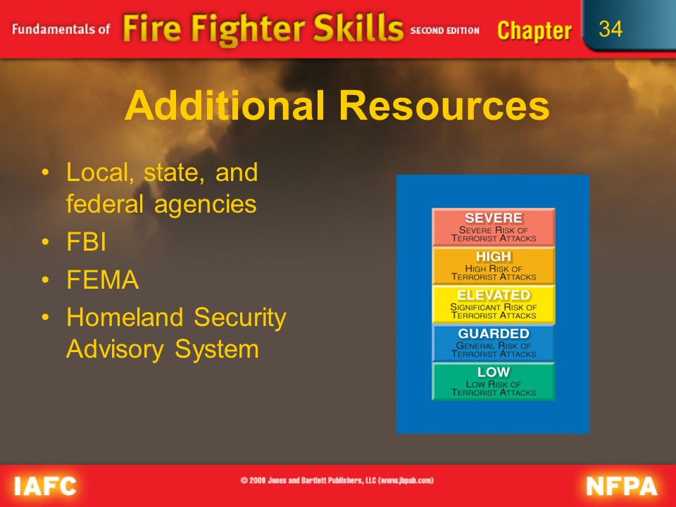 34 Additional Resources Local, state, and federal agencies FBI FEMA Homeland Security Advisory System