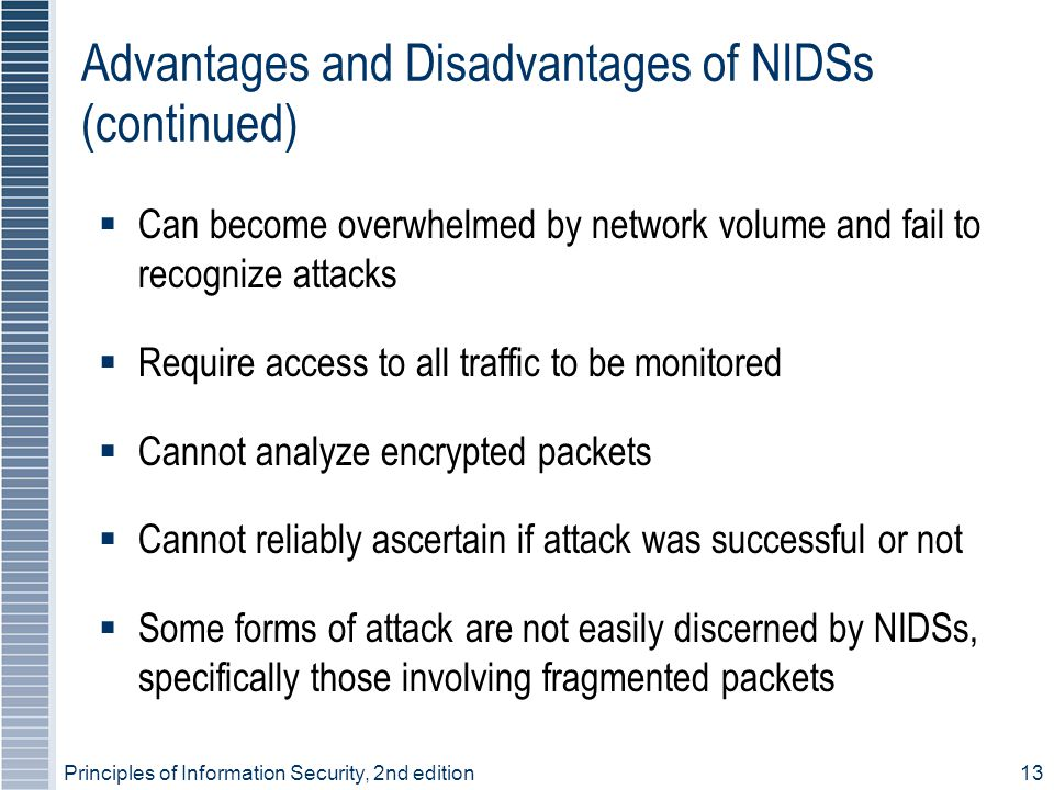 Principles of Information Security, 2nd edition13 Advantages and Disadvantages of NIDSs (continued)  Can become overwhelmed by network volume and fai