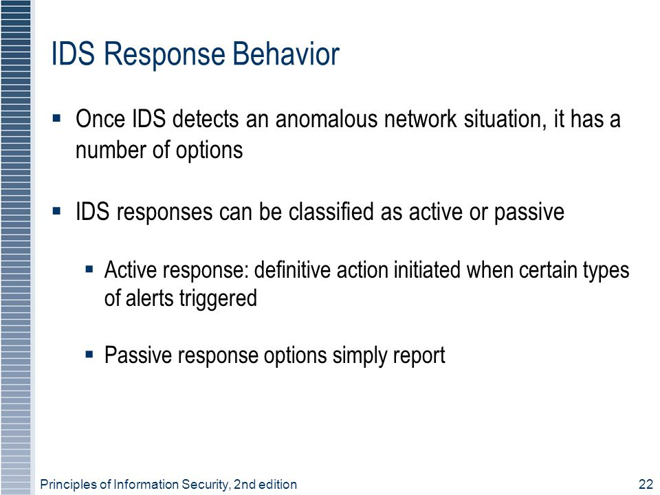 Principles of Information Security, 2nd edition22 IDS Response Behavior  Once IDS detects an anomalous network situation, it has a number of options