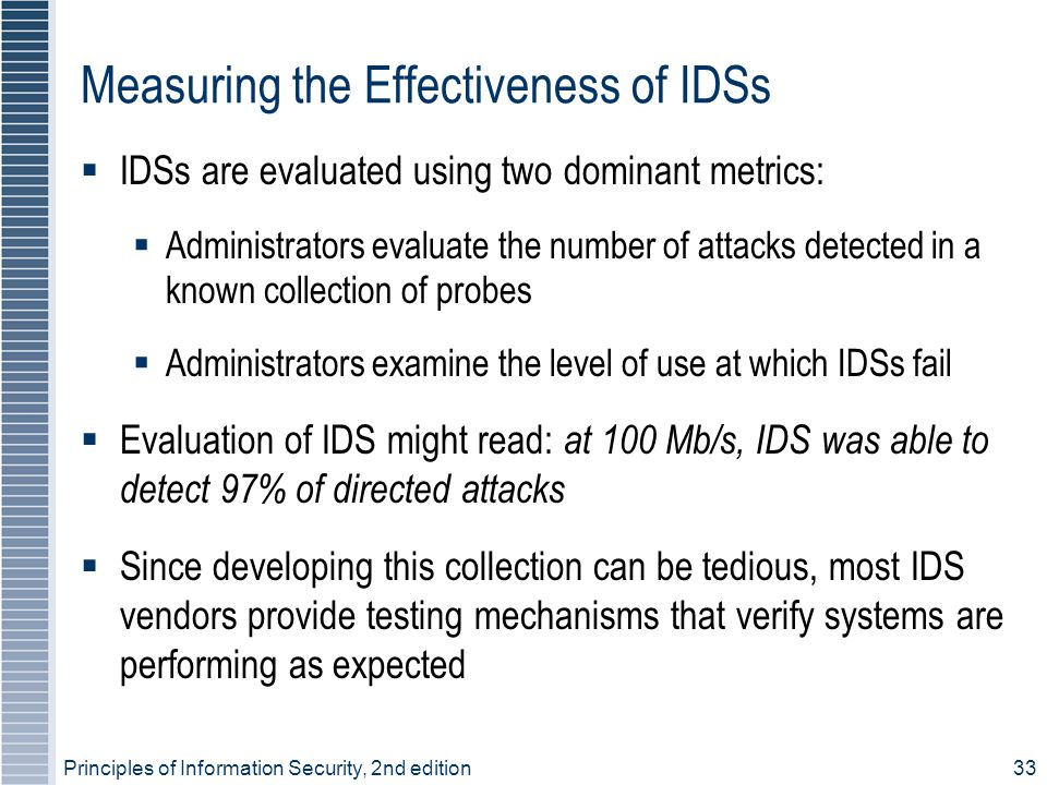 Principles of Information Security, 2nd edition33 Measuring the Effectiveness of IDSs  IDSs are evaluated using two dominant metrics:  Administrator