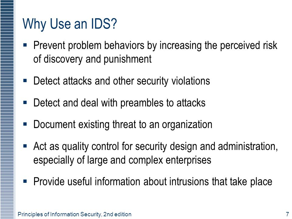 Principles of Information Security, 2nd edition7 Why Use an IDS.