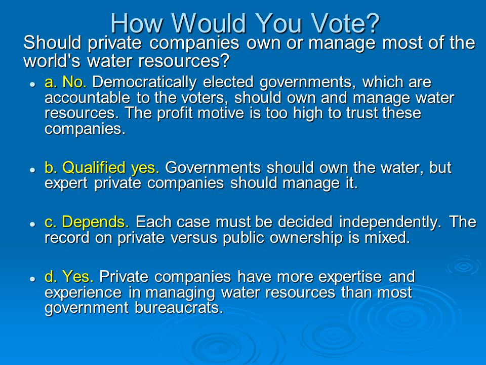 How Would You Vote? Should private companies own or manage most of the world's water resources? a. No. Democratically elected governments, which are a