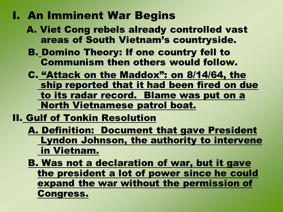 X.The War Ends A.Paris Peace Accords (Treaty that ended the war) 1.