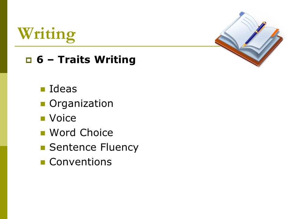 Writing  6 – Traits Writing Ideas Organization Voice Word Choice Sentence Fluency Conventions