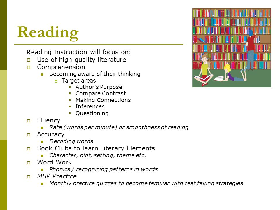 Reading Reading Instruction will focus on:  Use of high quality literature  Comprehension Becoming aware of their thinking  Target areas  Author's