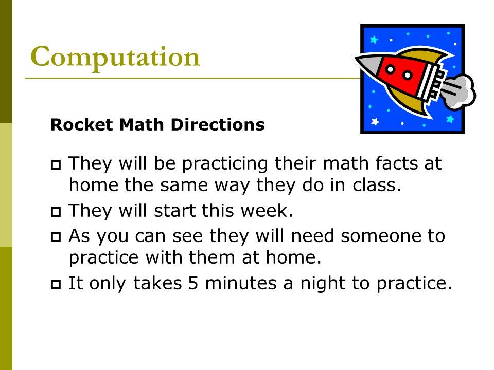 Computation Rocket Math Directions  Once they have completed all levels for multiplication and division they will move onto the challenge math.
