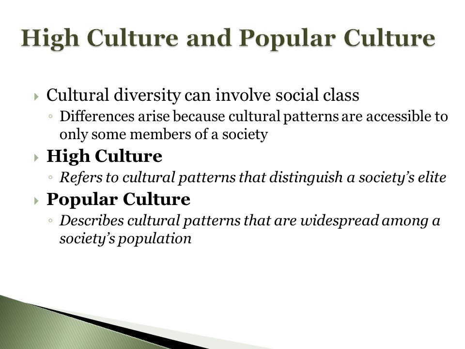  Cultural diversity can involve social class ◦ Differences arise because cultural patterns are accessible to only some members of a society  High Culture ◦ Refers to cultural patterns that distinguish a society's elite  Popular Culture ◦ Describes cultural patterns that are widespread among a society's population