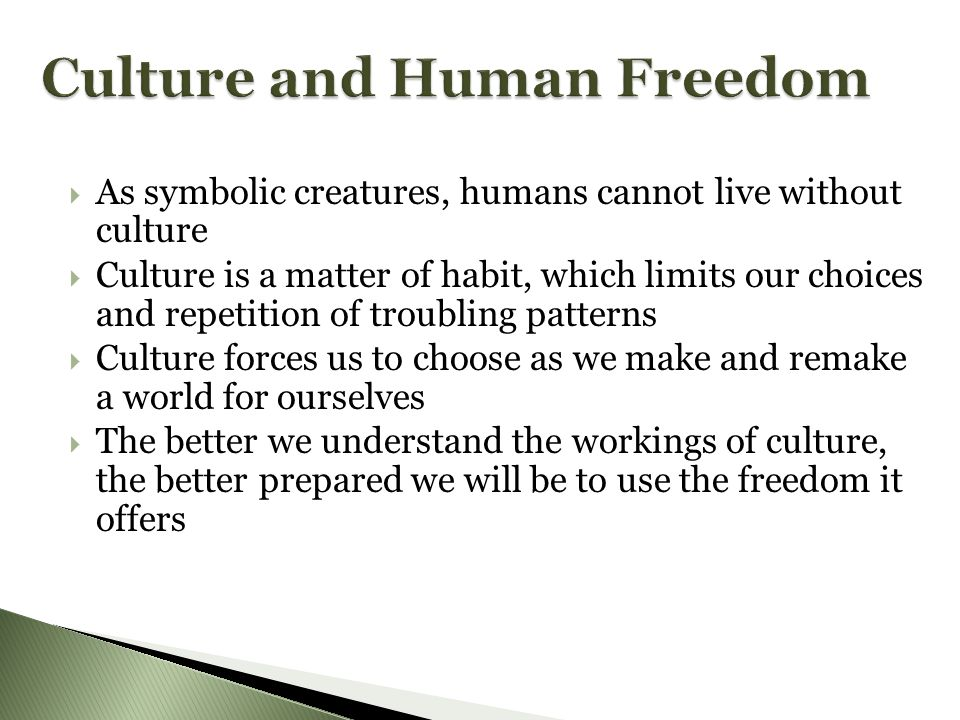  As symbolic creatures, humans cannot live without culture  Culture is a matter of habit, which limits our choices and repetition of troubling patterns  Culture forces us to choose as we make and remake a world for ourselves  The better we understand the workings of culture, the better prepared we will be to use the freedom it offers