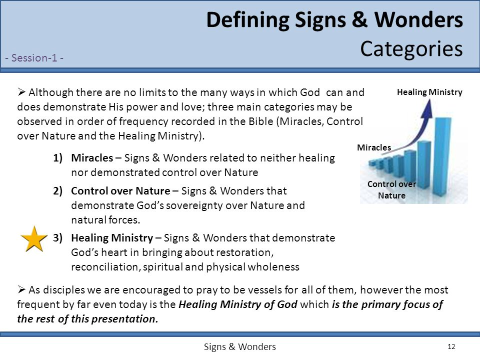 Signs & Wonders 12 Defining Signs & Wonders Categories Healing Ministry Control over Nature Miracles  Although there are no limits to the many ways i