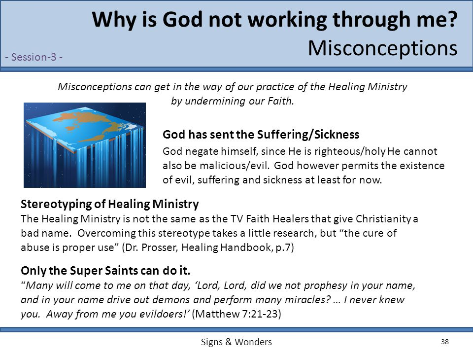 Signs & Wonders 38 Why is God not working through me? Misconceptions God negate himself, since He is righteous/holy He cannot also be malicious/evil.