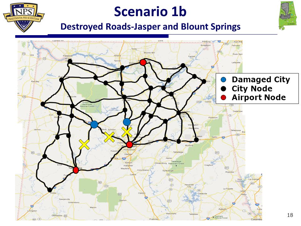 Damaged City City Node Airport Node Scenario 1b Destroyed Roads-Jasper and Blount Springs 18