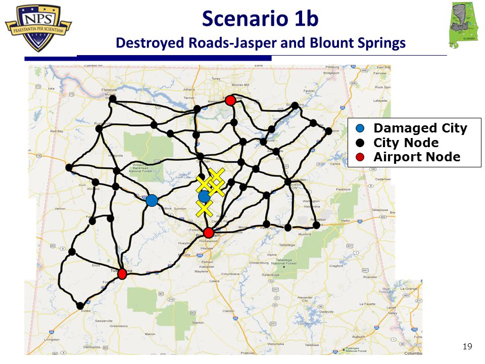 Damaged City City Node Airport Node Scenario 1b Destroyed Roads-Jasper and Blount Springs 19
