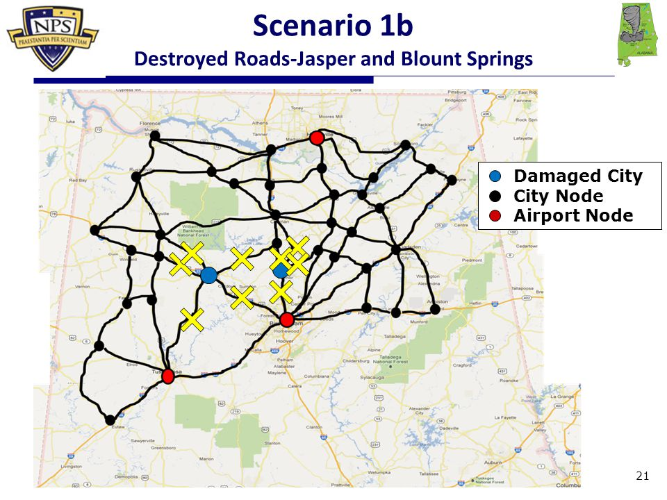 Damaged City City Node Airport Node Scenario 1b Destroyed Roads-Jasper and Blount Springs 21