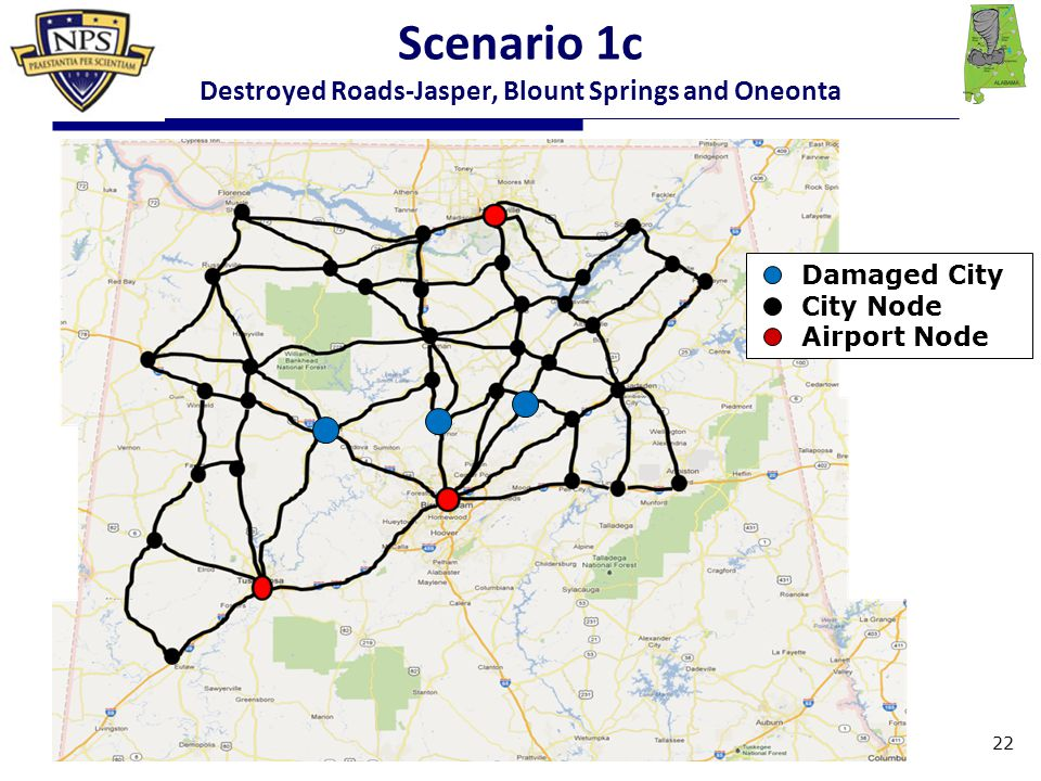 Damaged City City Node Airport Node Scenario 1c Destroyed Roads-Jasper, Blount Springs and Oneonta 22
