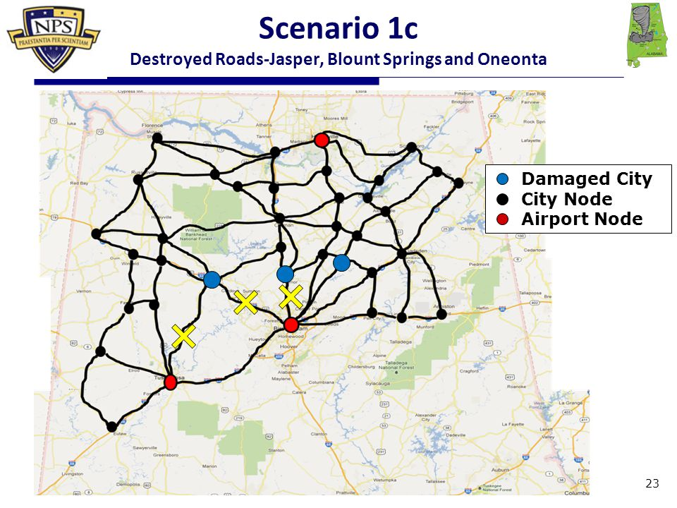 Damaged City City Node Airport Node 23 Scenario 1c Destroyed Roads-Jasper, Blount Springs and Oneonta