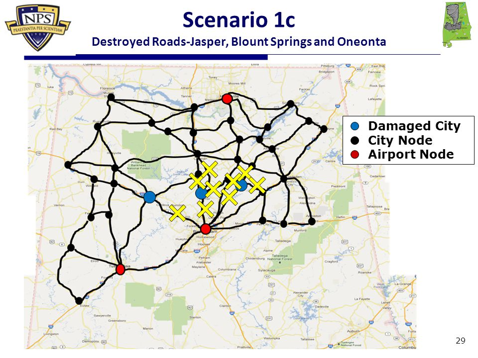 Damaged City City Node Airport Node 29 Scenario 1c Destroyed Roads-Jasper, Blount Springs and Oneonta