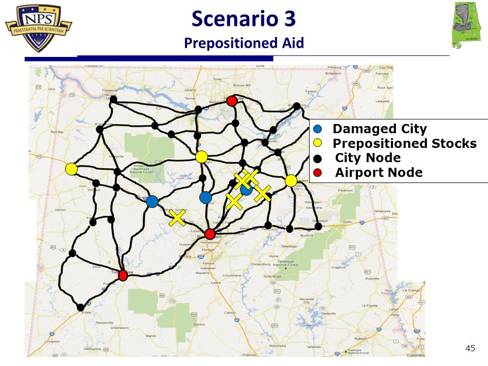 Damaged City Prepositioned Stocks City Node Airport Node Scenario 3 Prepositioned Aid 45