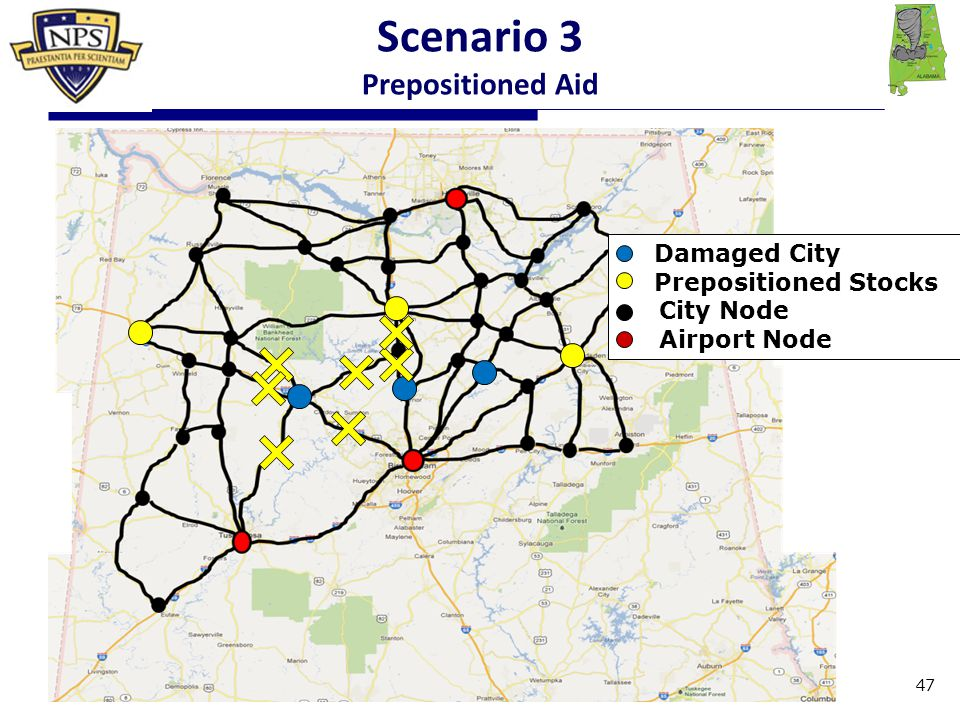 Damaged City Prepositioned Stocks City Node Airport Node Scenario 3 Prepositioned Aid 47