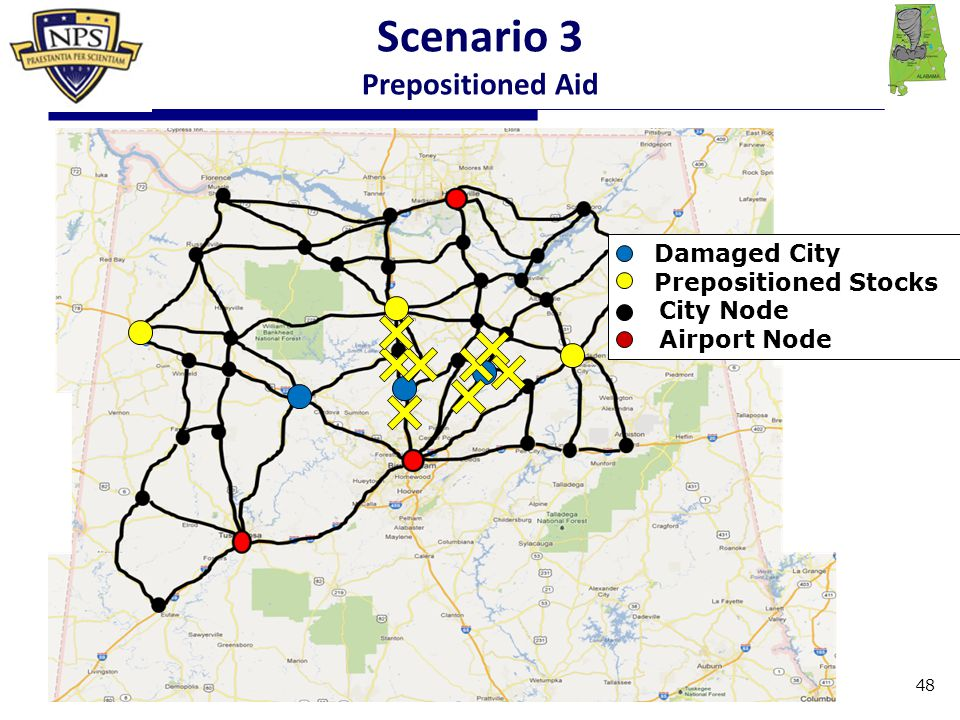 Damaged City Prepositioned Stocks City Node Airport Node Scenario 3 Prepositioned Aid 48