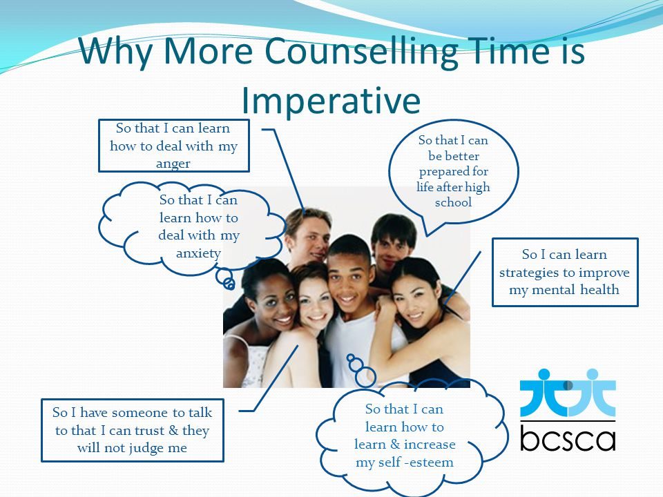 Why More Counselling Time is Imperative So that I can be better prepared for life after high school So I can learn strategies to improve my mental health So that I can learn how to deal with my anxiety So that I can learn how to deal with my anger So I have someone to talk to that I can trust & they will not judge me So that I can learn how to learn & increase my self -esteem