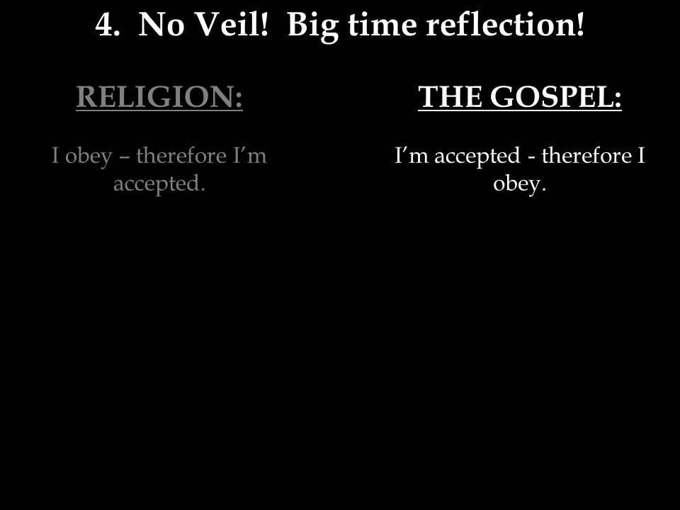 RELIGION: I obey – therefore I'm accepted. 4. No Veil.