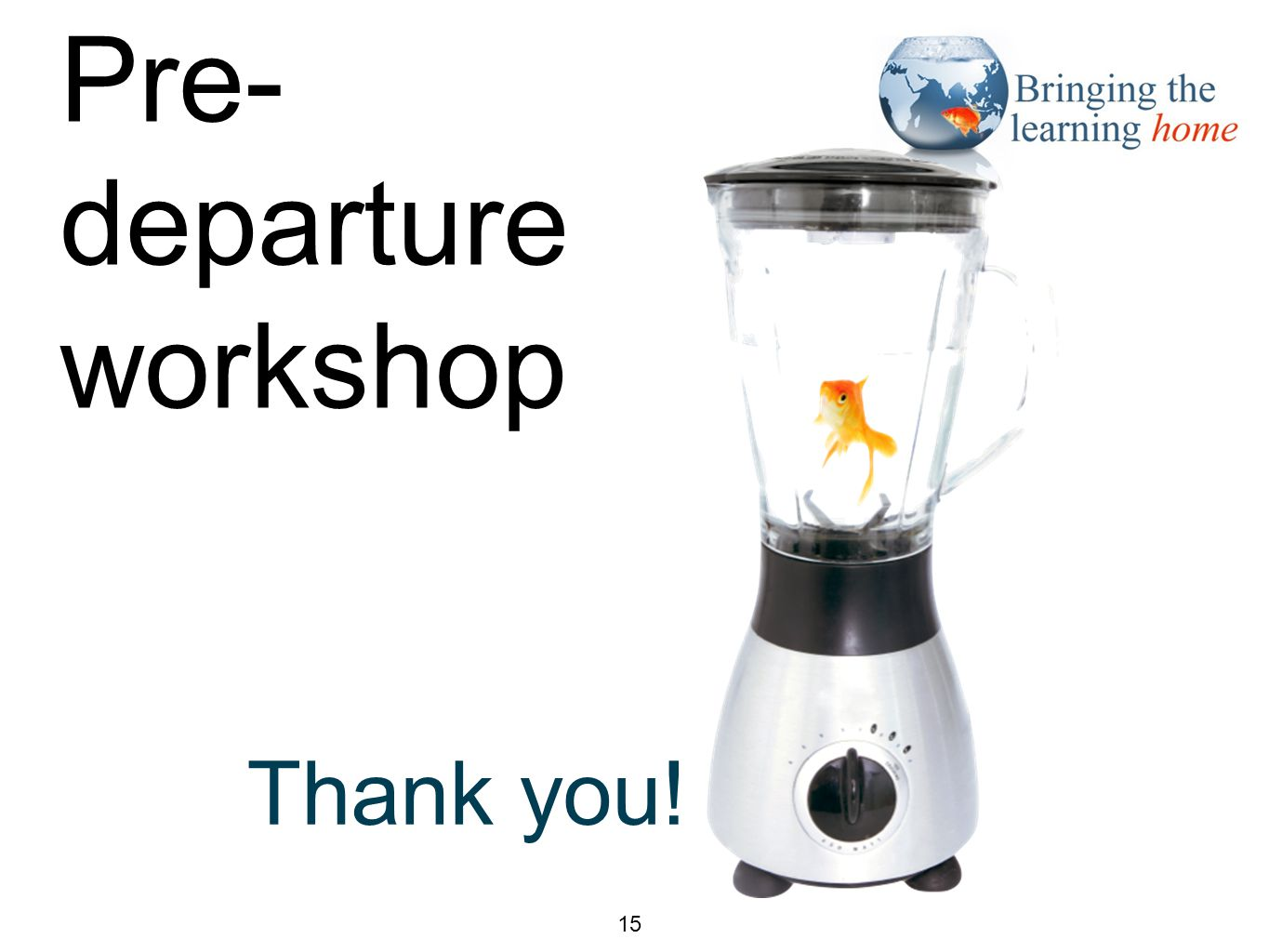 Closing slide 15 Thank you! Pre- departure workshop