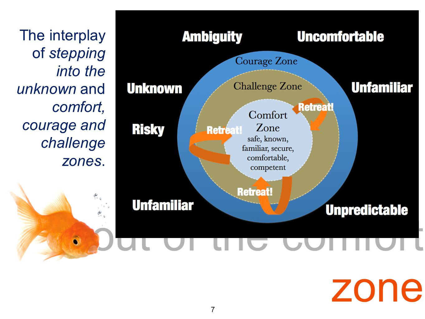 out of the comfort zone 7 The interplay of stepping into the unknown and comfort, courage and challenge zones.